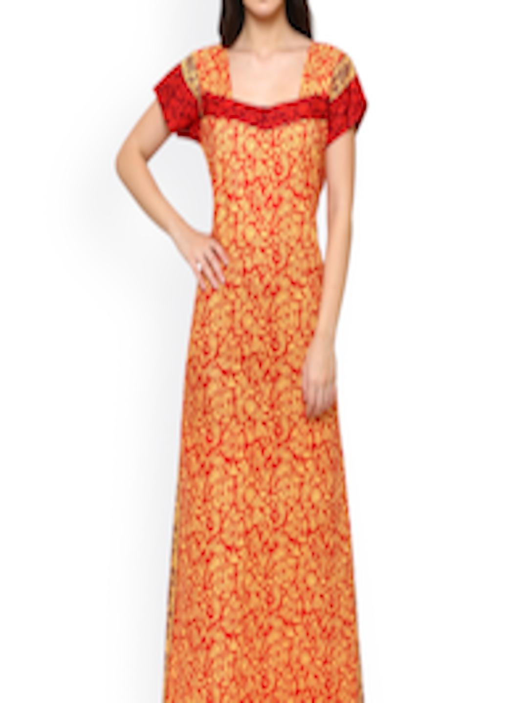 bieten eine große Auswahl an Mode offizielle Seite Buy Klamotten Orange & Yellow Printed Nightdress 15RD25 - - Apparel for  Women