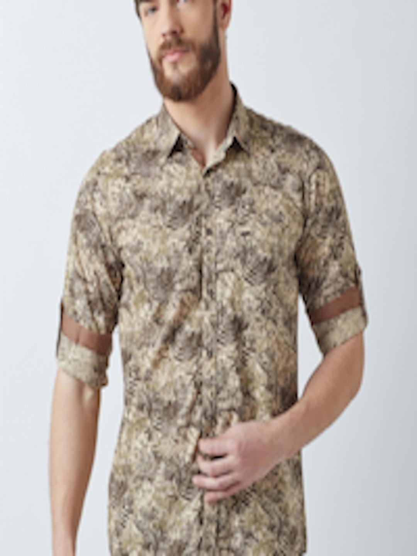c2683f13 Buy Crimsoune Club Men Khaki Standard Slim Fit Printed Casual Shirt ...