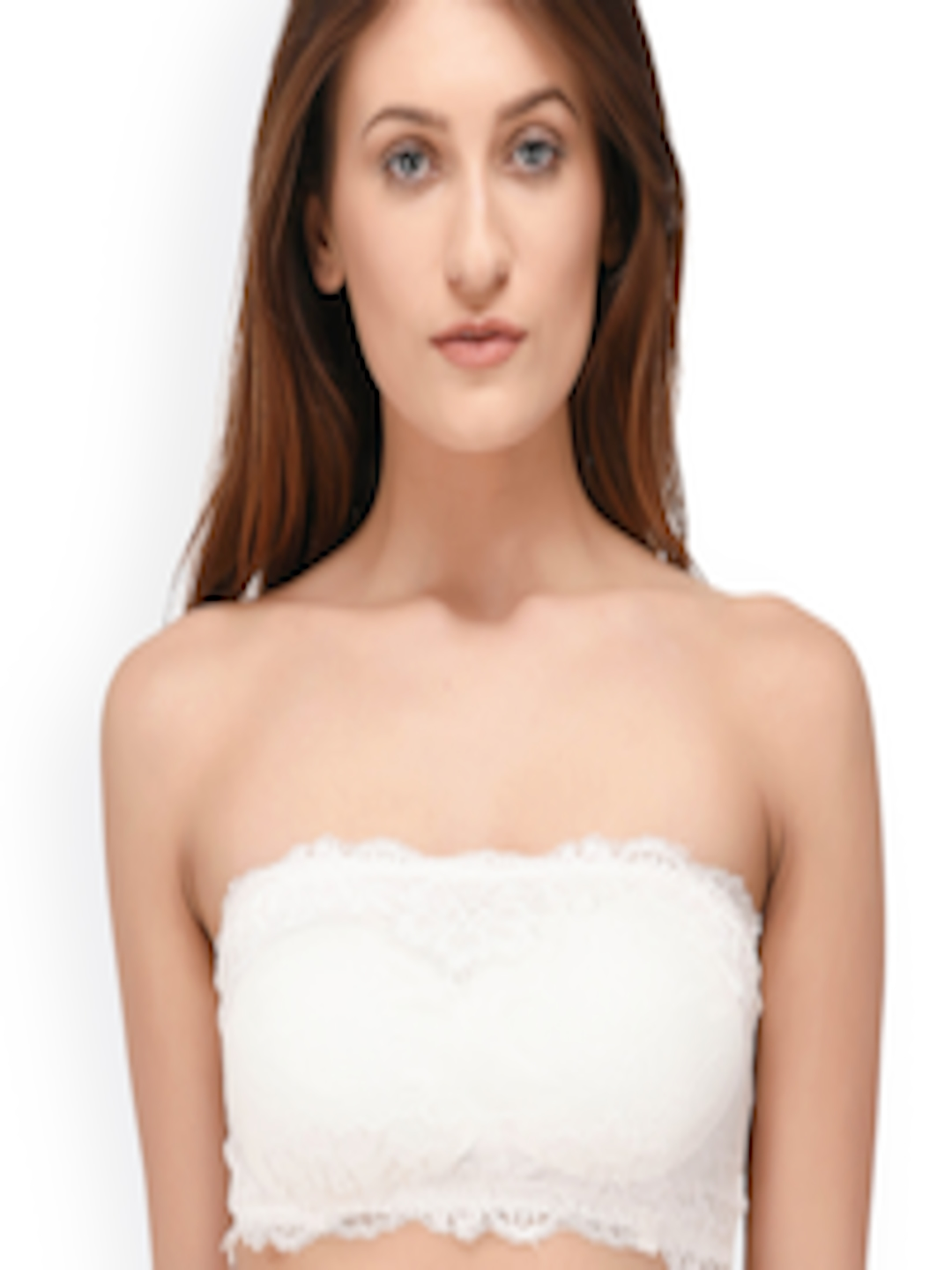90a06ee16bf1f Buy PrettyCat White Lace Non Wired Lightly Padded Bandeau Bra - Bra for  Women 2525386