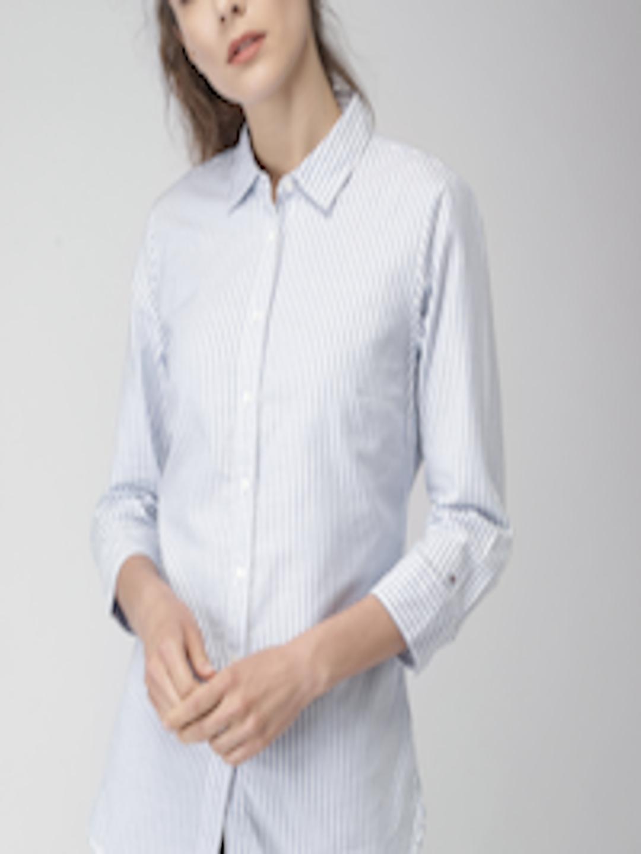 3df7e3fd Buy Tommy Hilfiger Women Blue & White Slim Fit Striped Casual Shirt - Shirts  for Women 2585587 | Myntra