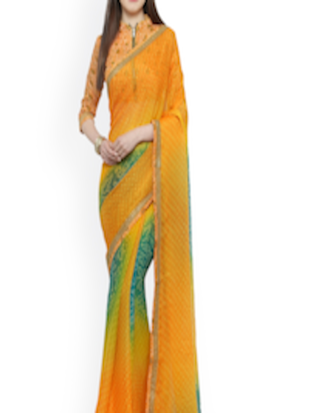 buy shaily orange green pure chiffon printed saree. Black Bedroom Furniture Sets. Home Design Ideas