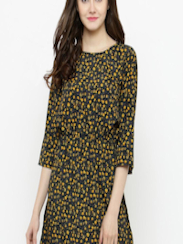 Buy Sera Women Black Amp Yellow Printed Fit And Flare Dress