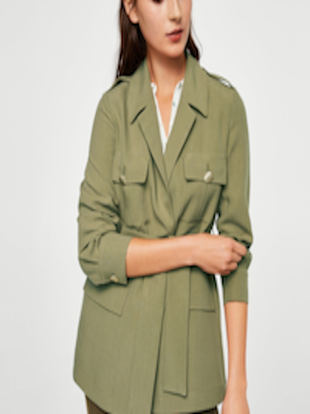 30cb4709c Buy MANGO Women Olive Green Solid Tailored Jacket - - Apparel for Women