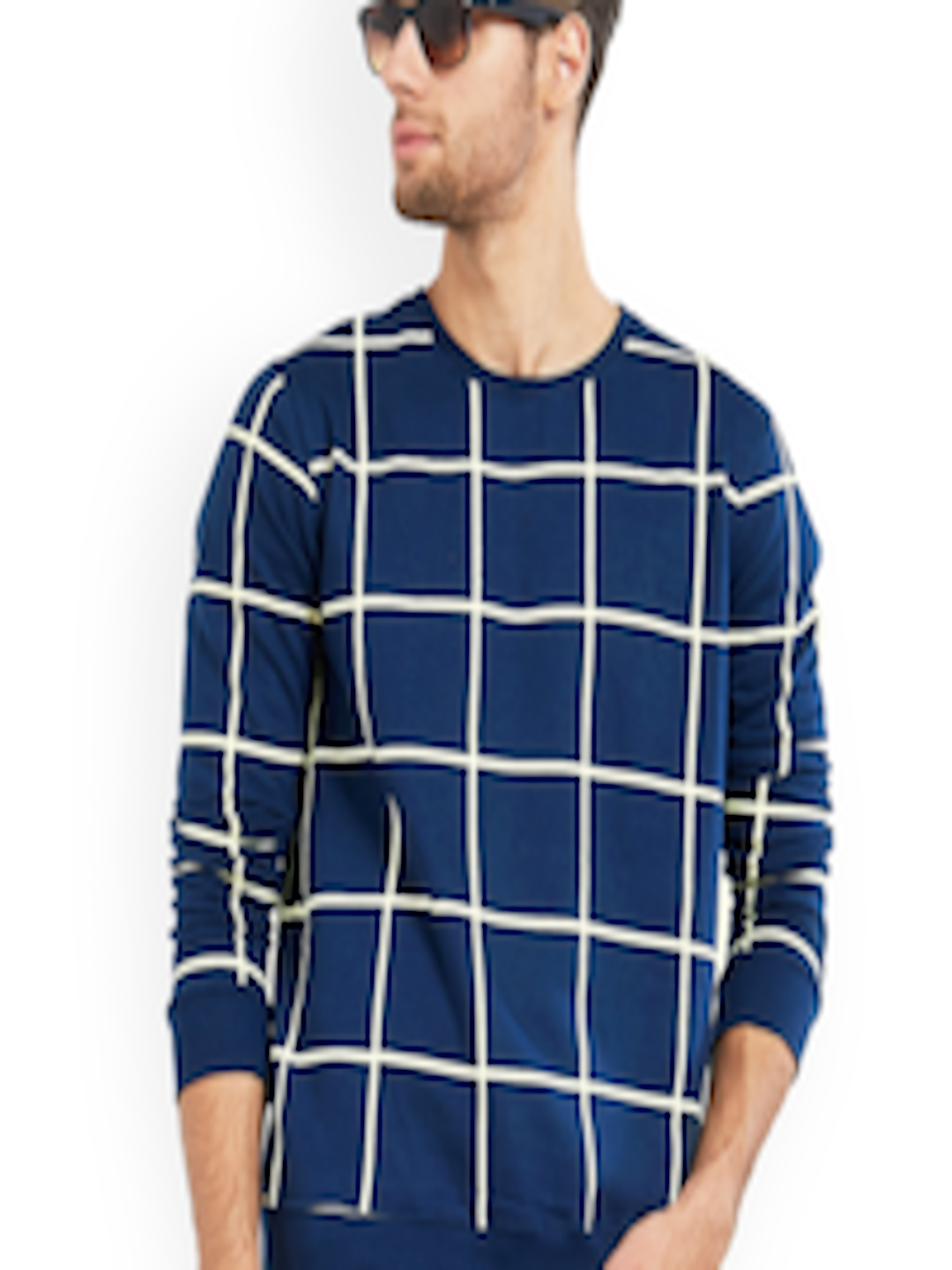 Men Navy Blue Checked Round Neck T-shirt