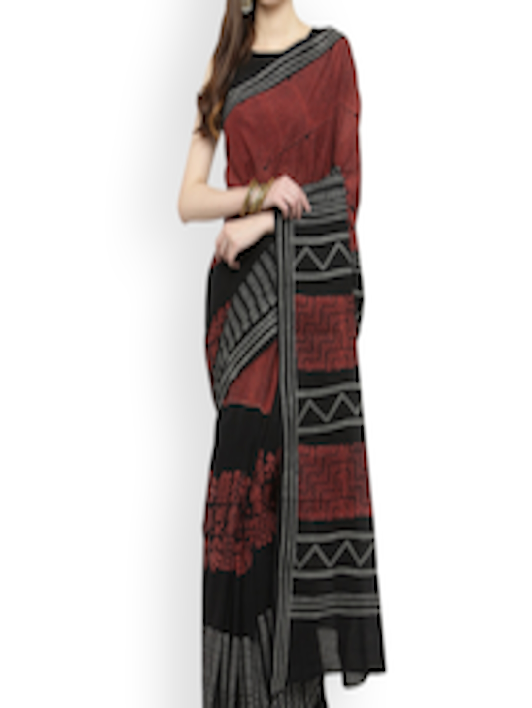 6dc3206c75 Buy Geroo Jaipur Black & Red Pure Cotton Printed Saree - Sarees for Women  4318159 | Myntra