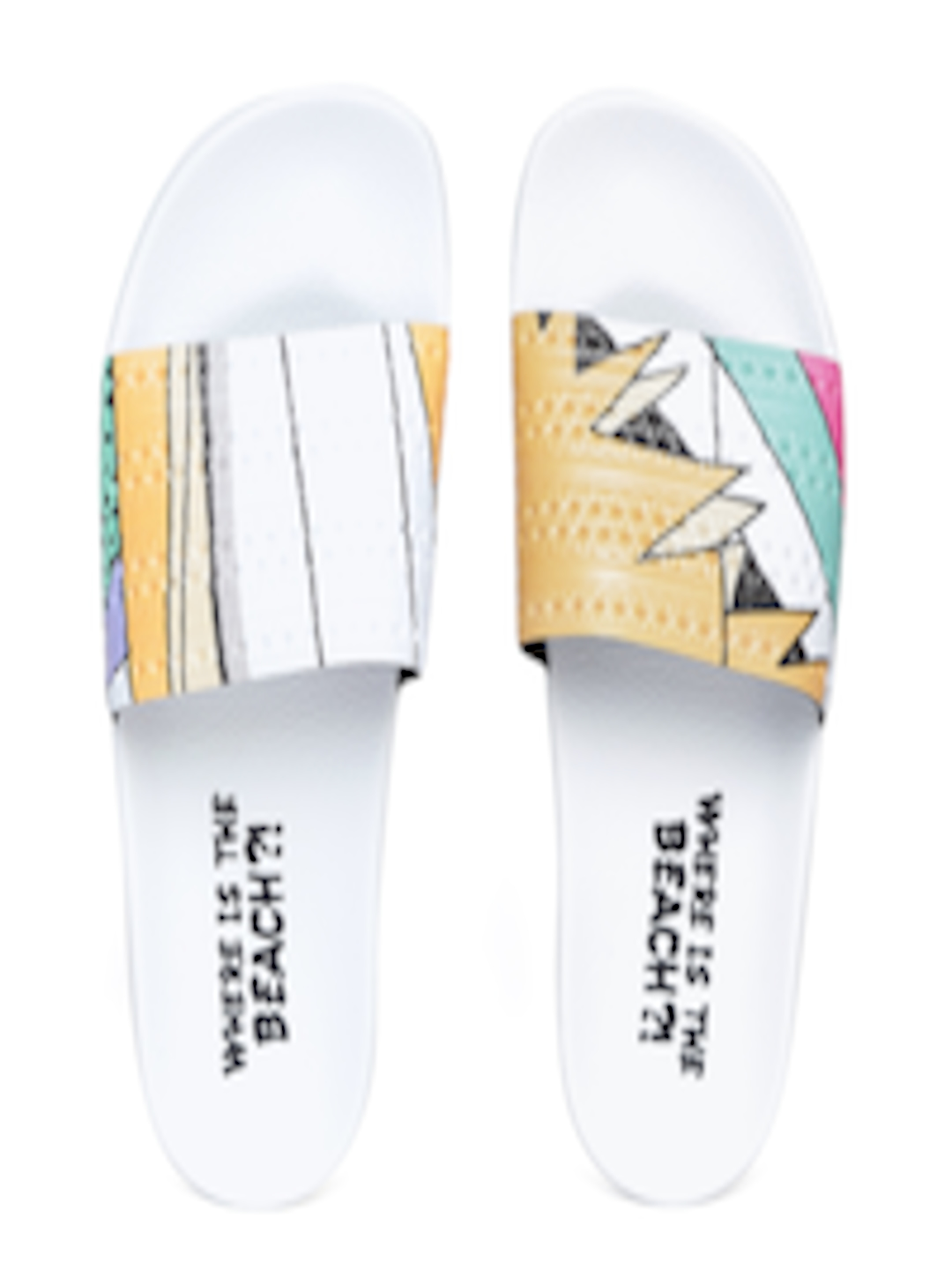 7bbdaf509df643 Buy ADIDAS Originals Men White   Mustard Printed Sliders - Flip Flops for  Men 4319668
