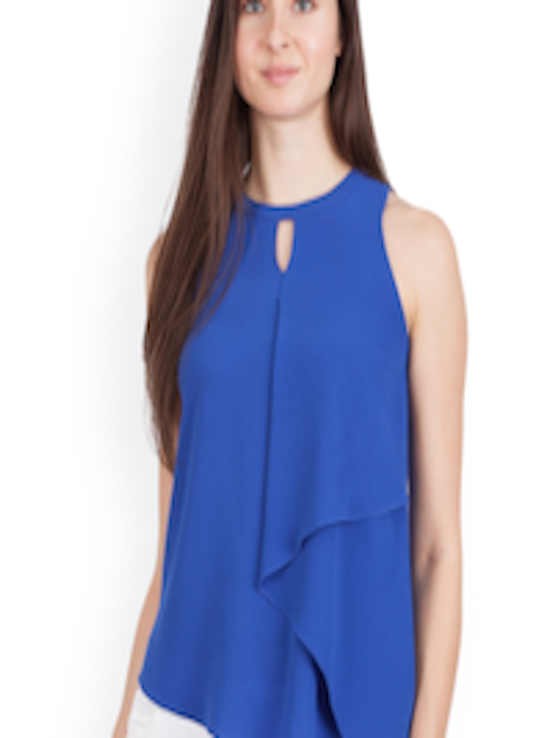 Buy Zink London Women Blue Solid A Line Top Tops For