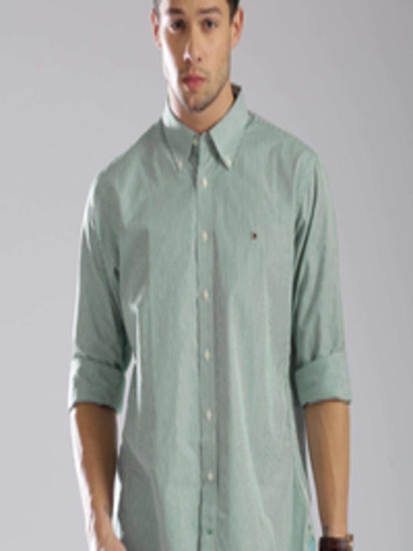 Buy Tommy Hilfiger Men Green White Striped Custom Fit