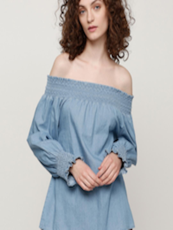 fda44799f9da0 Buy Splash Women Blue Solid Chambray Bardot Top - Tops for Women 5151196