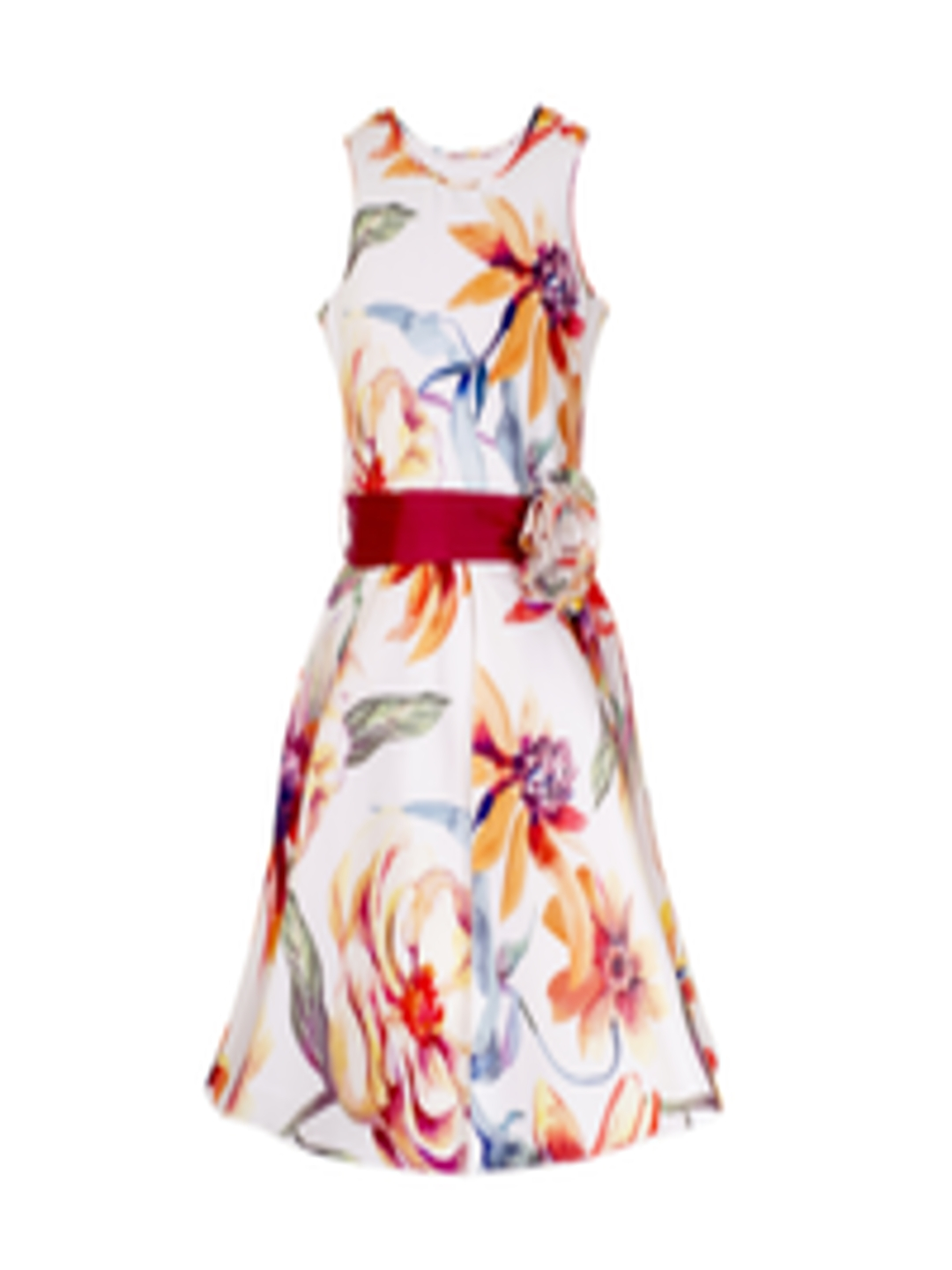 Buy Naughty Ninos Girls White Printed Fit And Flare Dress -1021