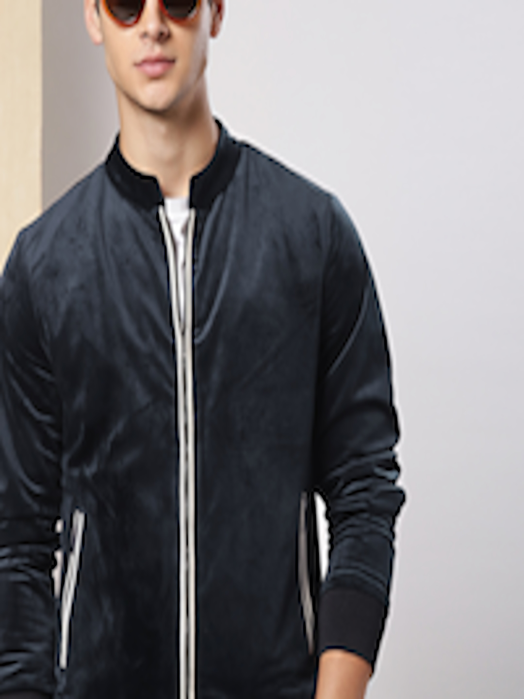 Men Navy Blue Solid Suede Bomber by Invictus