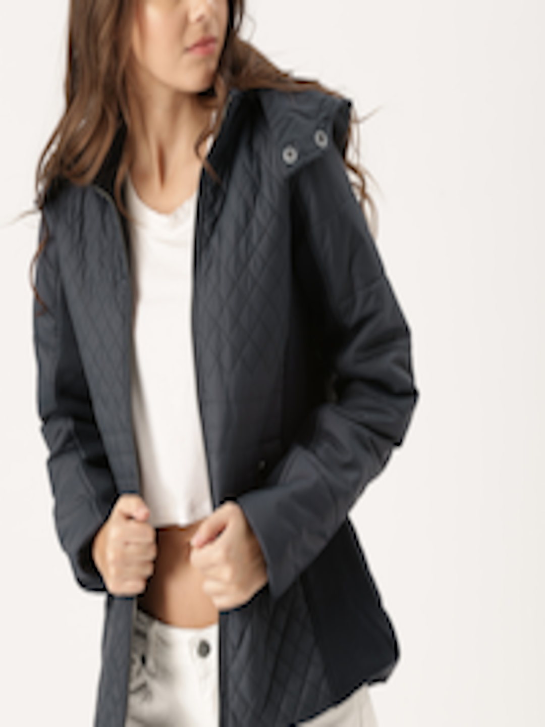 49983c37c40 Buy DressBerry Women Navy Blue Solid Quilted Jacket - - Apparel for Women