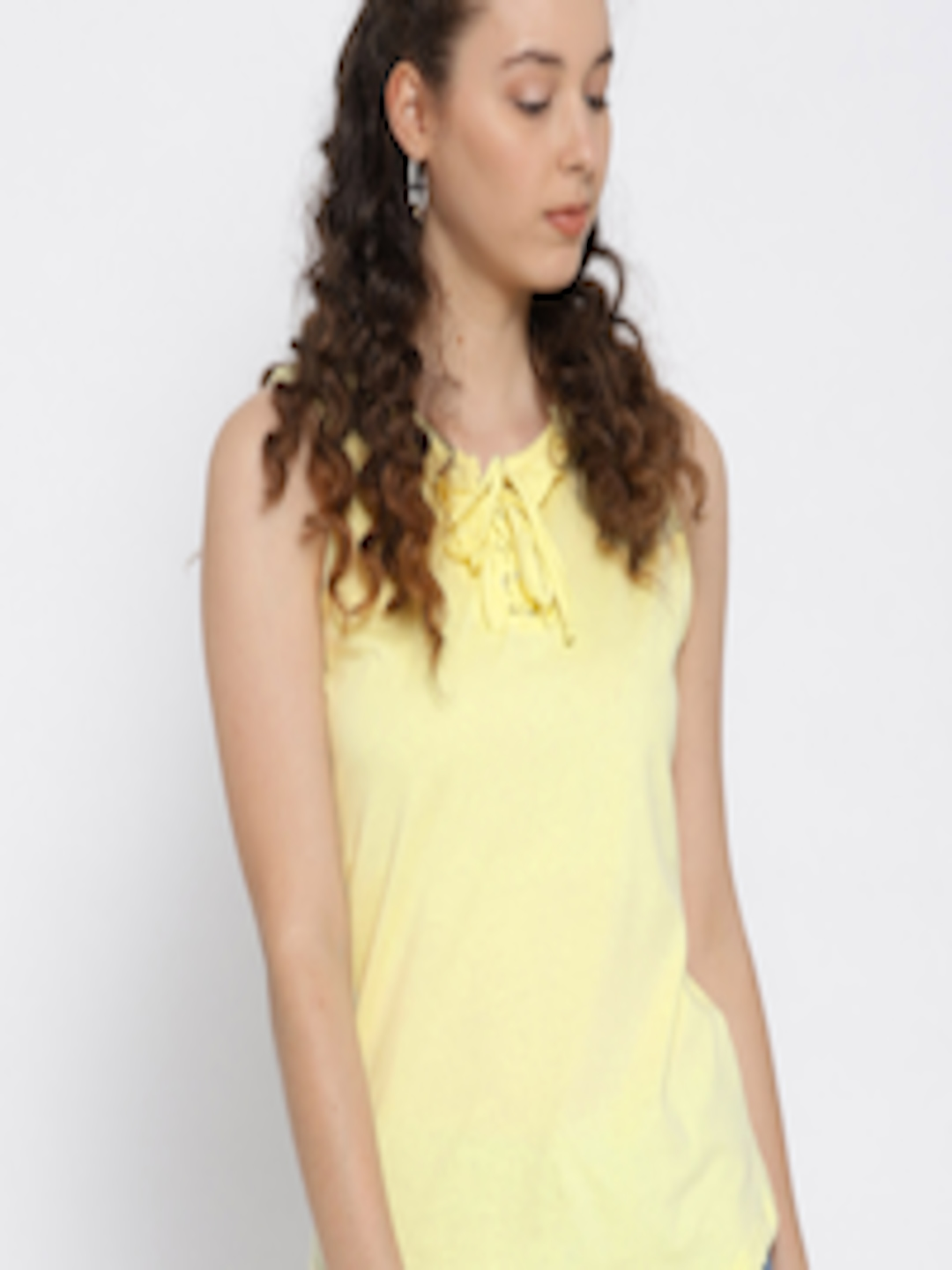b5e985cf0d2db Buy OVS Women Yellow Solid Top - Tops for Women 5623648