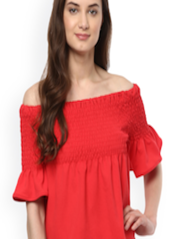 71070c7d8fca Buy Mayra Women Red Solid Off Shoulder Top - Tops for Women 5665153 ...