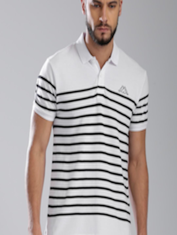 7aa9b784a063 Buy Kappa Men White & Black Striped Polo Collar T Shirt - Tshirts for Men  6541500 | Myntra
