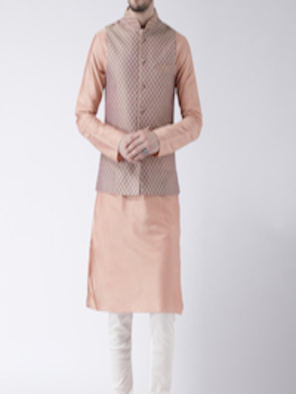 8bf8cf717 Buy KISAH Men Peach & Mauve Jacquard Banarasi Kurta With Churidar & Nehru  Jacket - - Apparel for Men