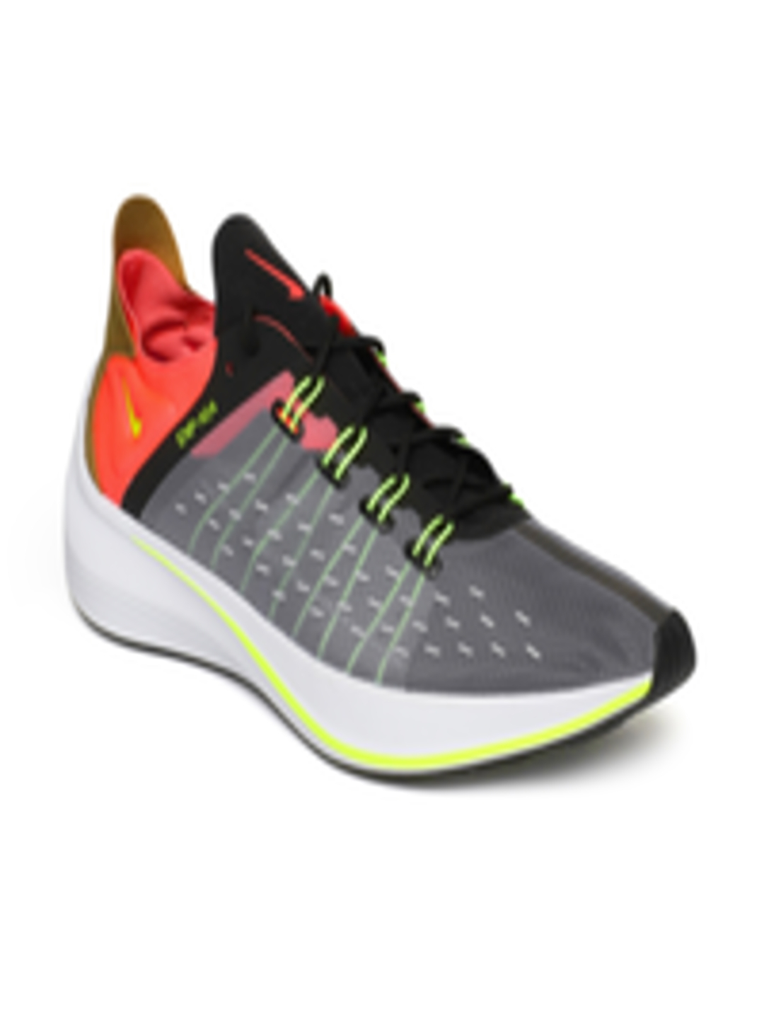 super popular d50a2 0b783 Buy Nike Men Grey   Fluorescent Orange Printed EXP X14 Running Shoes - Sports  Shoes for Men 6676943   Myntra