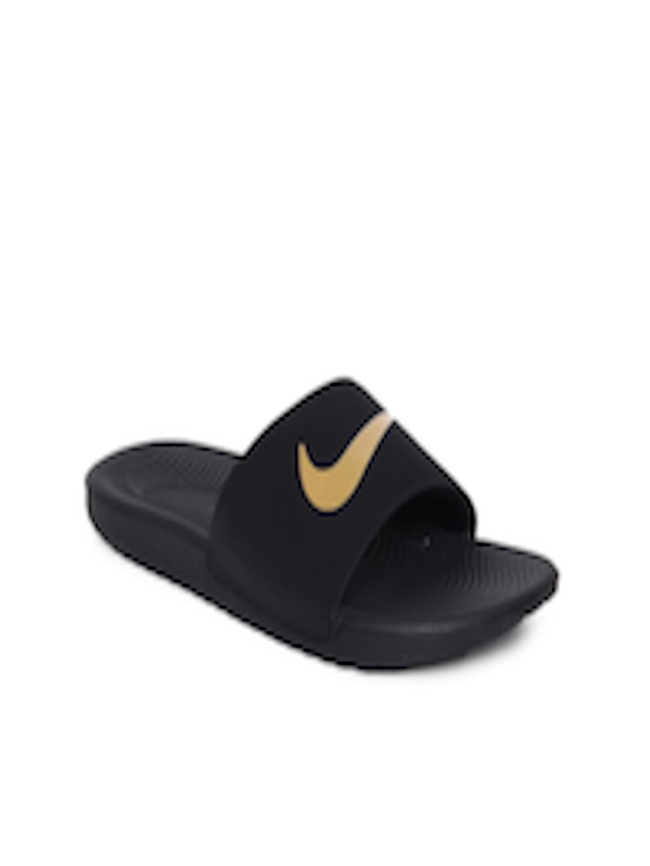 9913cbe41 Buy Nike Boys Black Solid Sliders NIKE KAWA SLIDE (GS PS) - Flip Flops for  Boys 6676963