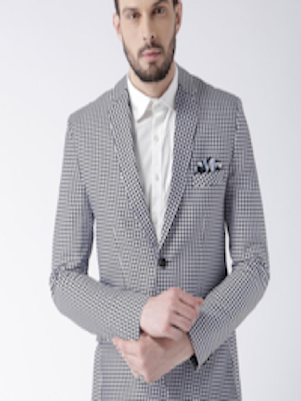 White & Black Printed Single-Breasted Blazer