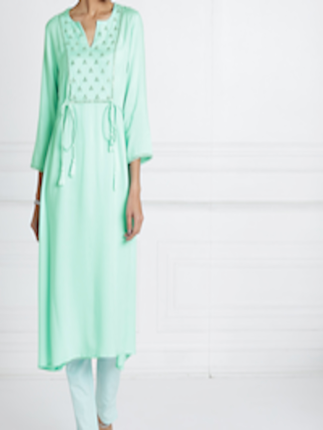 78185052934 all about you from Deepika Padukone Women Turquoise Blue Solid Mirror Work  A-Line Kurta