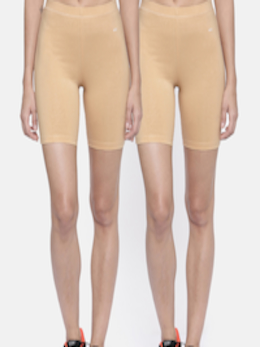 Buy Bitz Women Pack Of 2 Nude Solid Regular Fit Cycling -5554