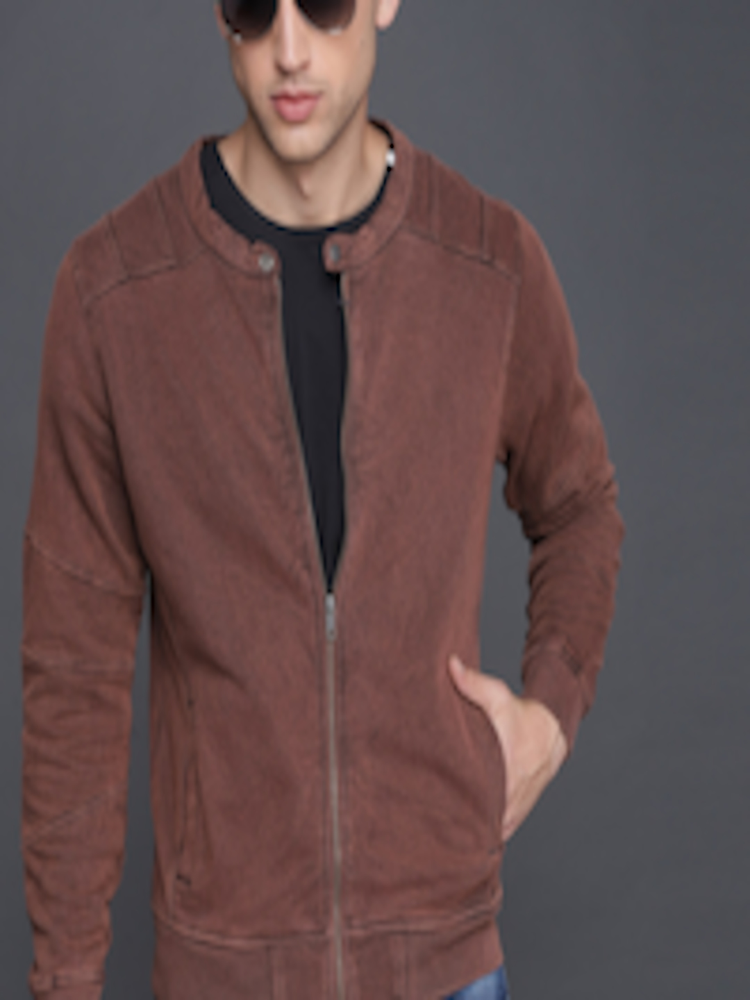 Men Brown Solid Bomber  by Wrogn