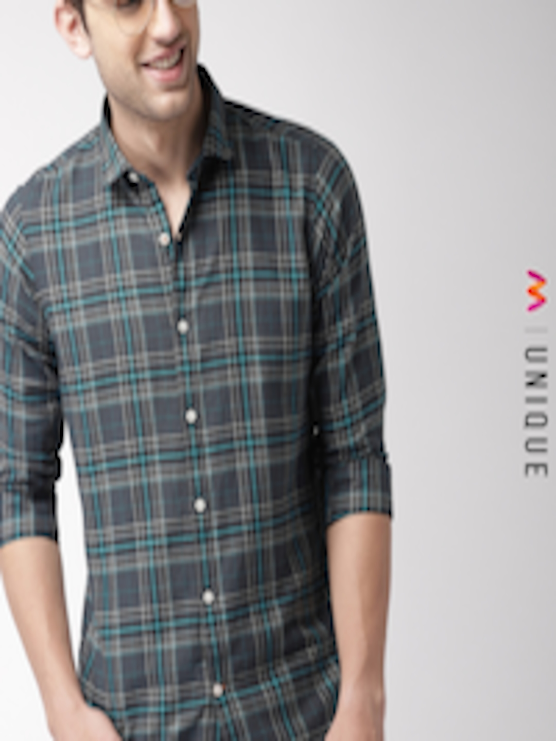 Men Blue & Charcoal Grey Regular Fit Checked Casual Shirt