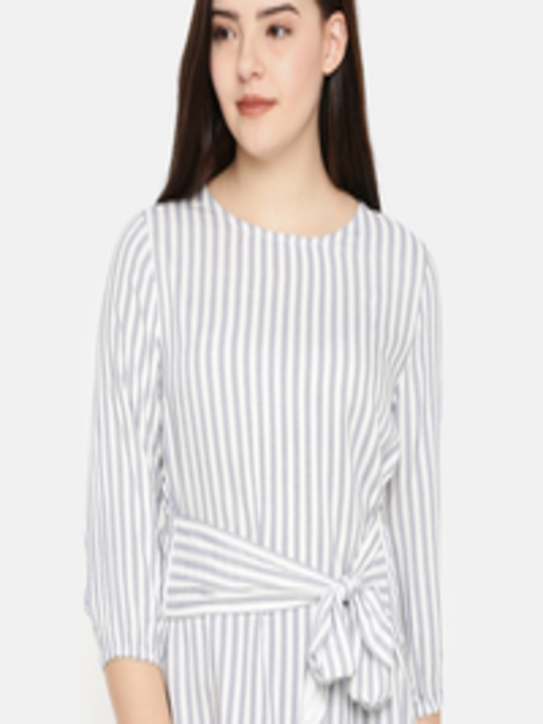 ced69e522d Buy Fame Forever By Lifestyle Women White & Navy Blue Striped Top - Tops  for Women 6919351 | Myntra
