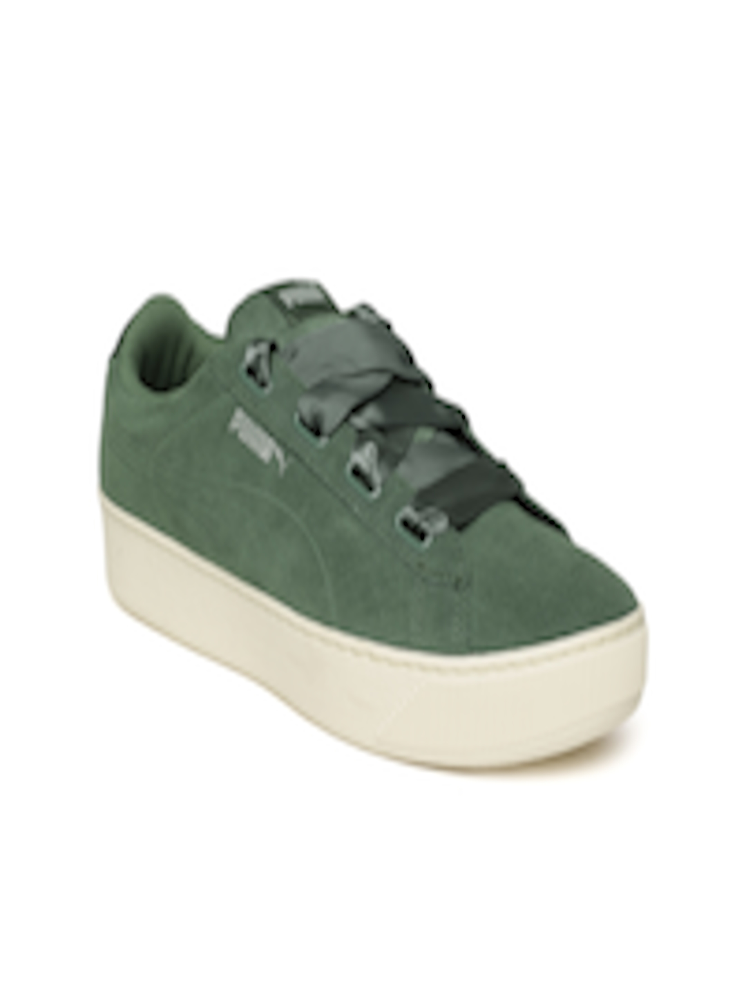 official photos b045d 57088 Buy Puma Women Olive Green Vikky Platform Ribbon S Suede Sneakers - -  Footwear for Women
