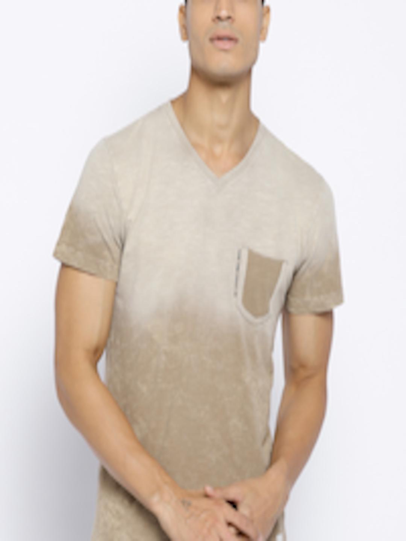 3e040dcafbe2 Buy Octave Men Khaki Dyed V Neck T Shirt - Tshirts for Men 6942161 | Myntra