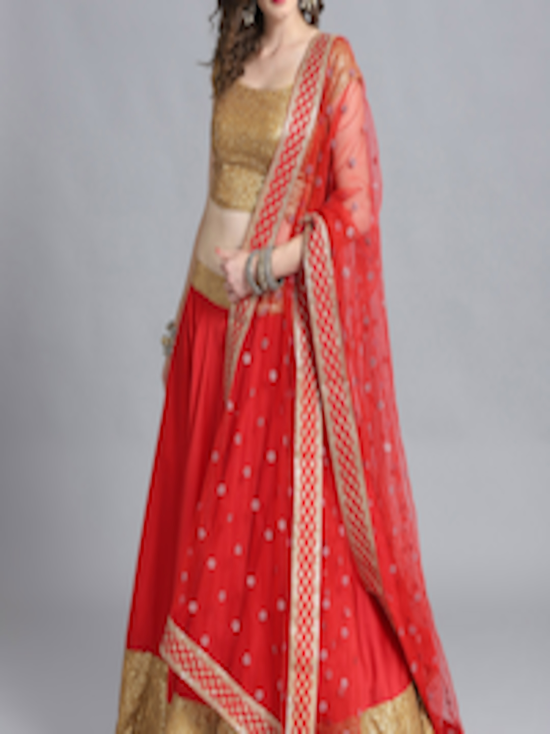 7a9eb7b0bd Bollywood Vogue Red & Golden Made to Measure Umbrella Lehenga & Blouse with  Dupatta