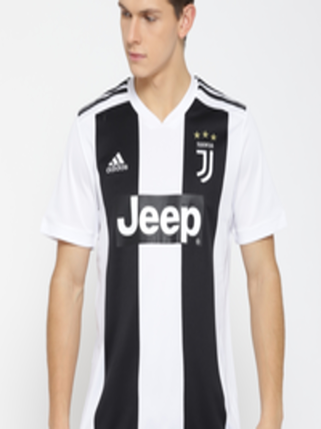 best sneakers 1a986 fecd8 Buy ADIDAS Men White & Black Striped Juventus Home Football Jersey - -  Apparel for Men