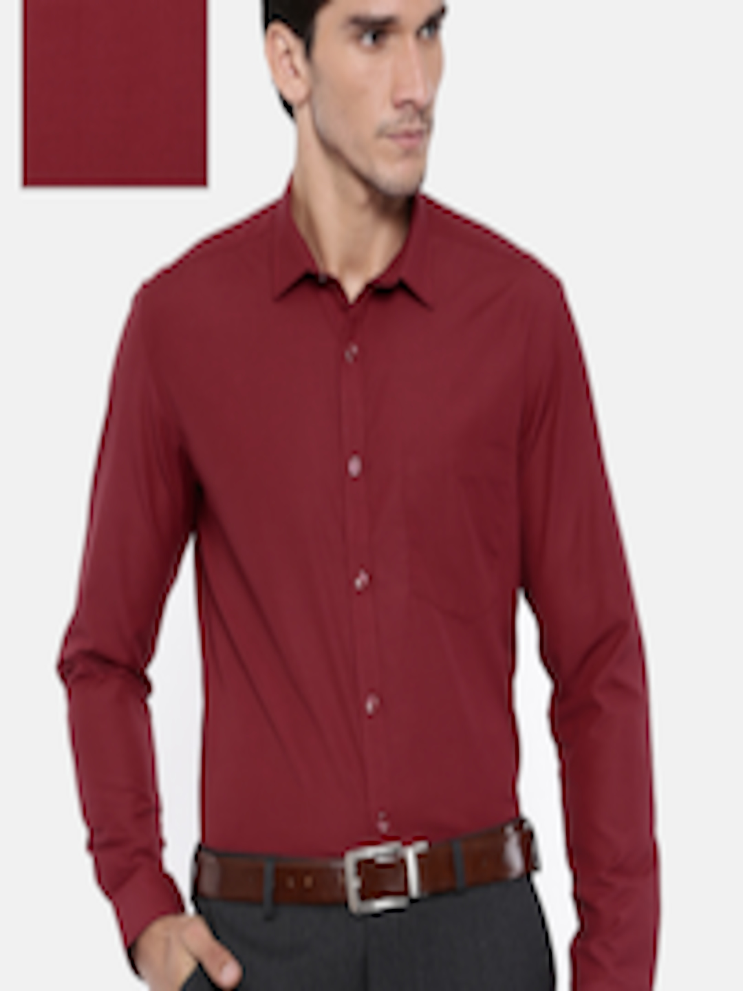 6524bdfafd Buy Independence Men Maroon Slim Fit Solid Formal Shirt - Shirts for Men  6976985 | Myntra