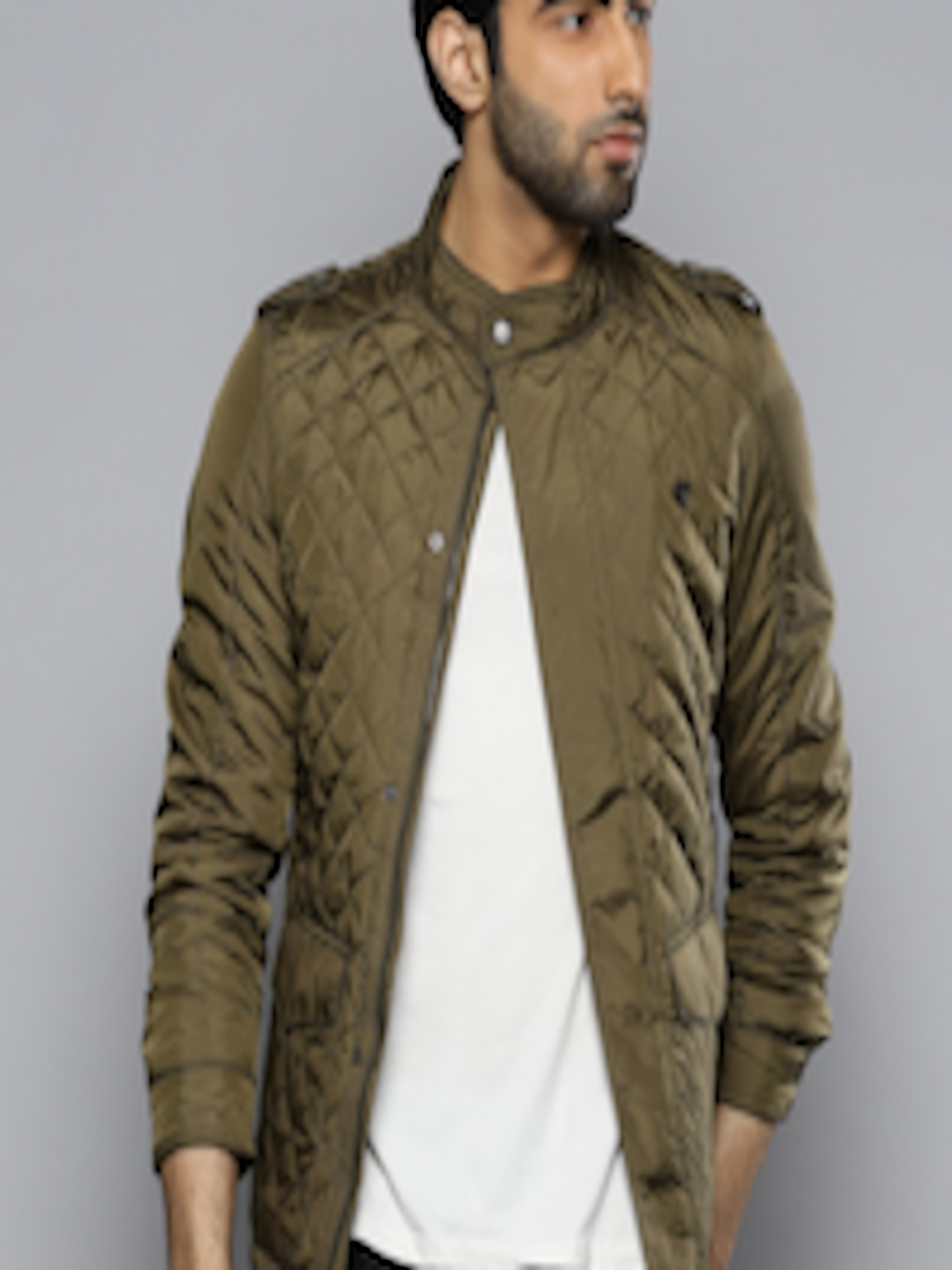 Buy Louis Philippe Men Olive Green Solid Quilted Jacket ...