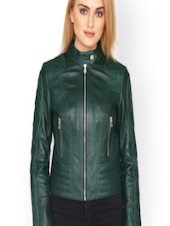 2840f7a0c Buy Justanned Women Green Solid Leather Biker Jacket - - Apparel for Women