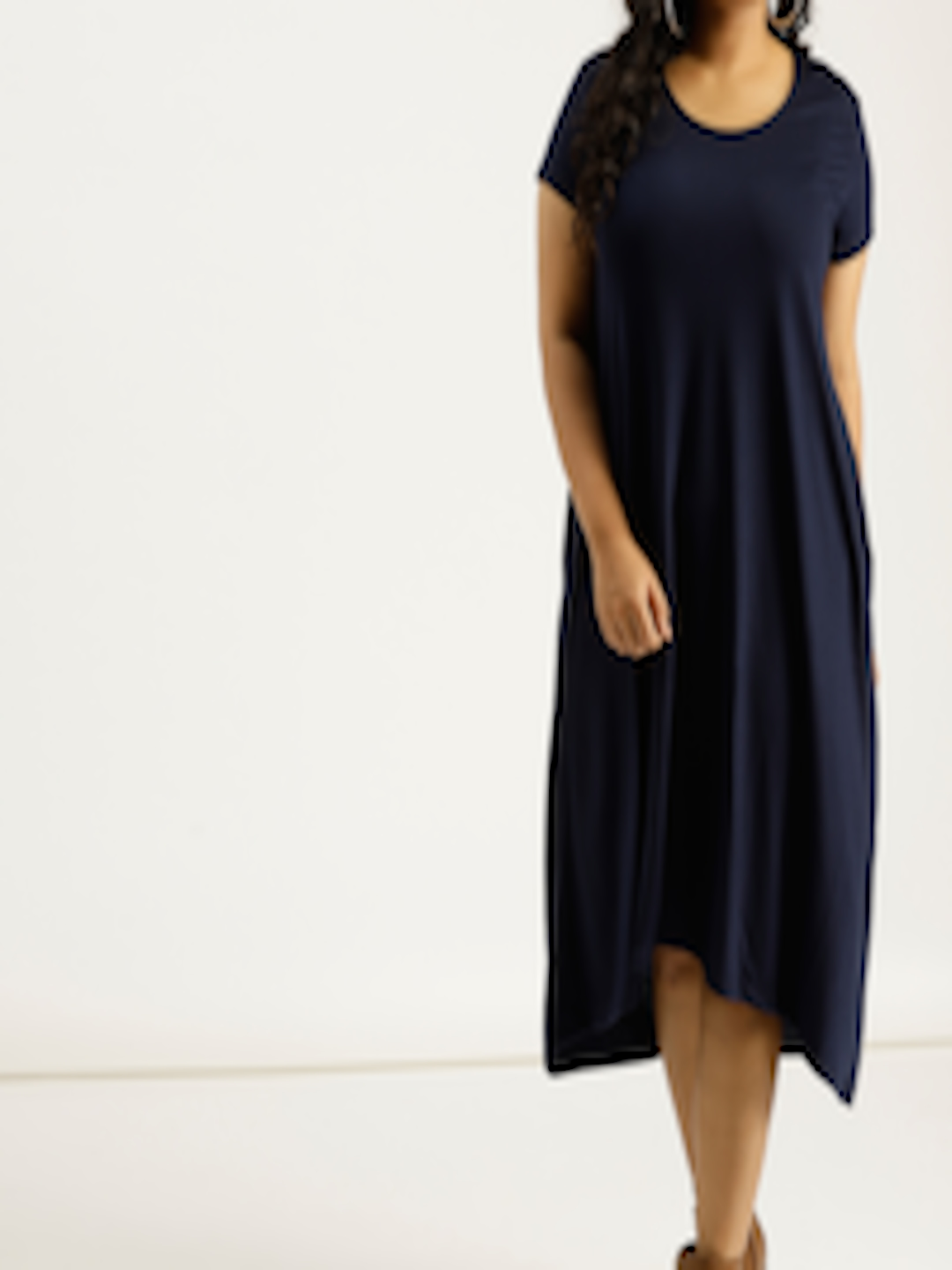 Buy Sztori Women Navy Blue Solid Midi A Line Dress ...
