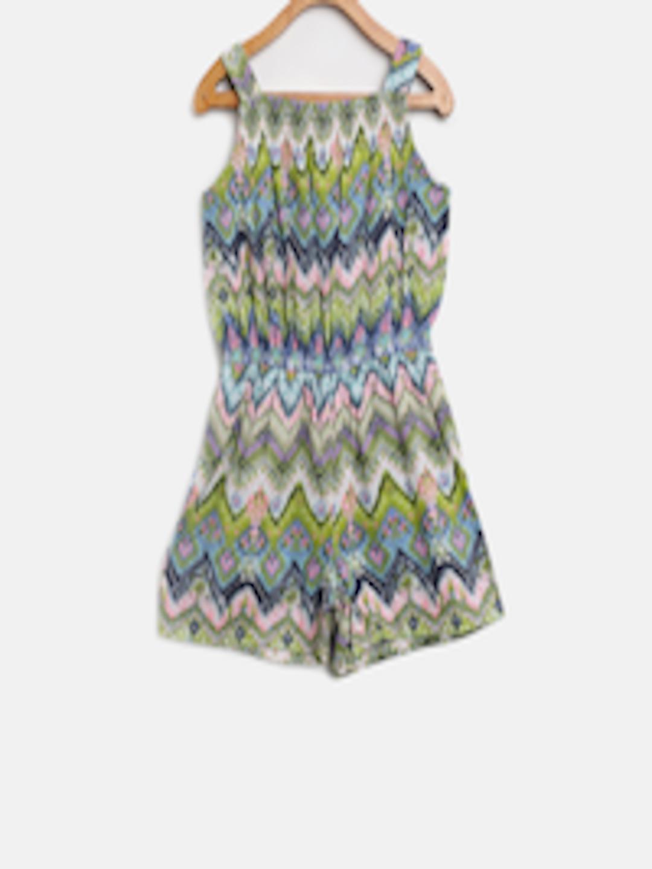 ec57e46ac41 Buy Nauti Nati Girls Green   Blue Printed Playsuit - Jumpsuit for Girls  7030867