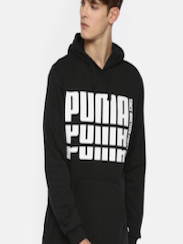 2abeef2d774 Buy Puma Men Black & White Printed Rebel Bold FL Hoody Sweatshirt -  Sweatshirts for Men 7033431 | Myntra