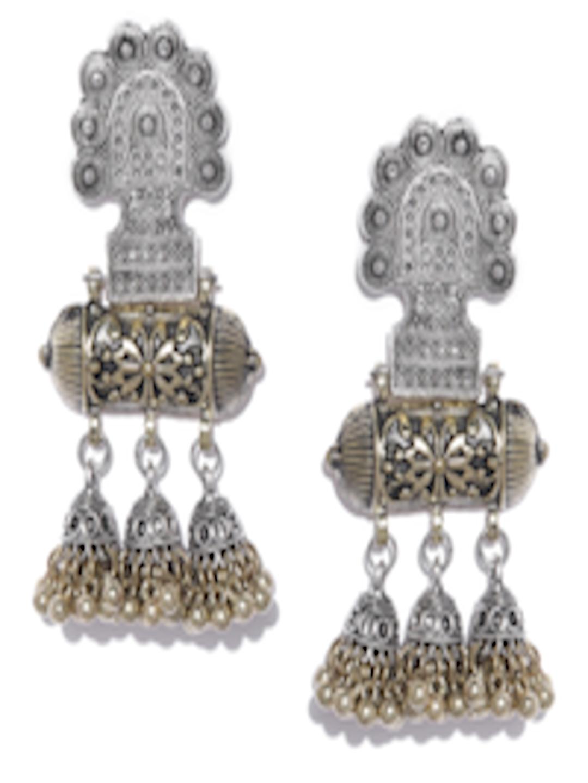 2966374b4 Infuzze Oxidised Silver & Antique Gold-Toned Classic Drop Earrings