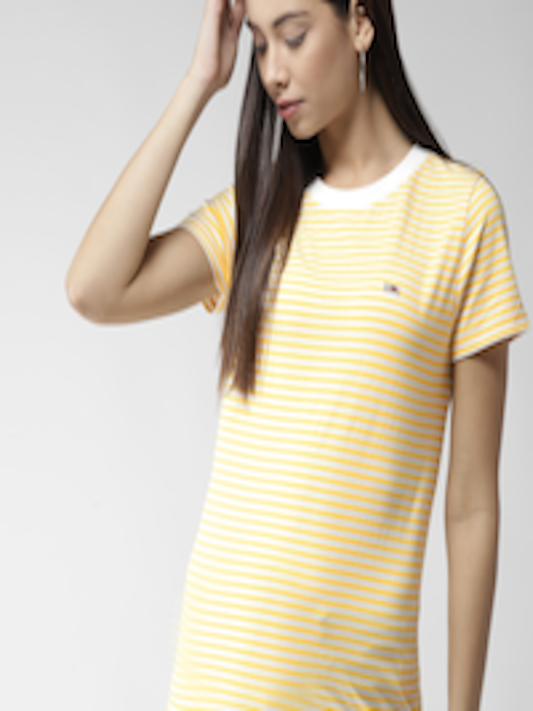 4004b6bc Buy Tommy Hilfiger Women White & Yellow Striped Round Neck T Shirt - Tshirts  for Women 7040588 | Myntra