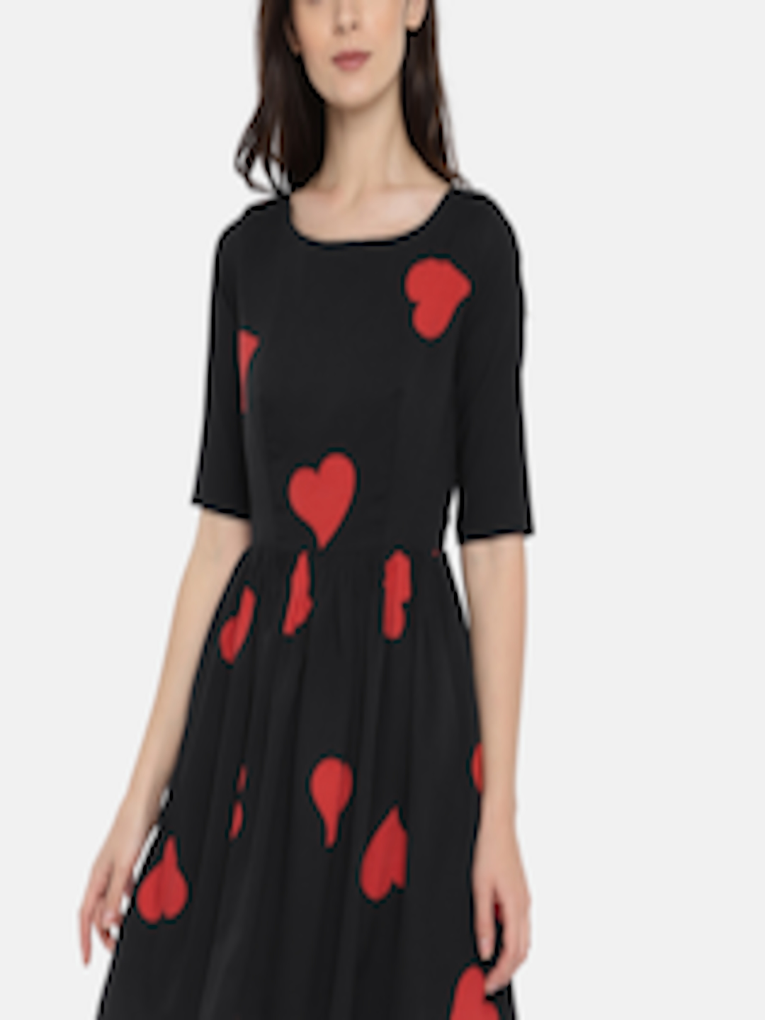 3edc3b7556 Buy ROVING MODE Women Black   Red Heart Print Fit And Flare Dress ...