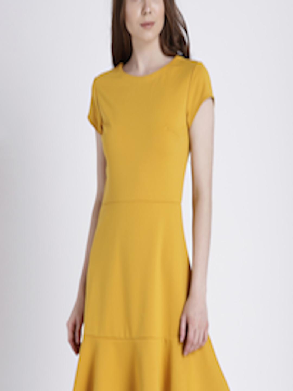 Buy Gap Women S Mustard Yellow Fit And Flare Peplum Dress
