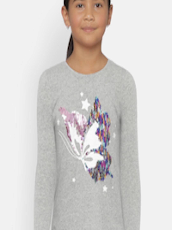 8bbe019d817 Buy GAP Girls' Grey Flippy Sequin Graphic T Shirt - Tshirts for Girls  7115043 | Myntra