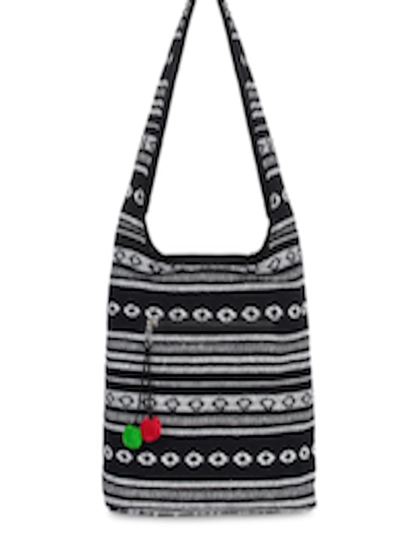 b23343b92e Buy Anekaant Black   White Self Design Tote Bag - Handbags for Women  7123661