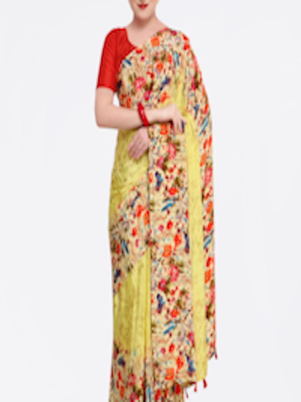 9292b7a59f Buy Pisara Multicoloured Printed Pure Crepe Saree - Sarees for Women  7149146 | Myntra
