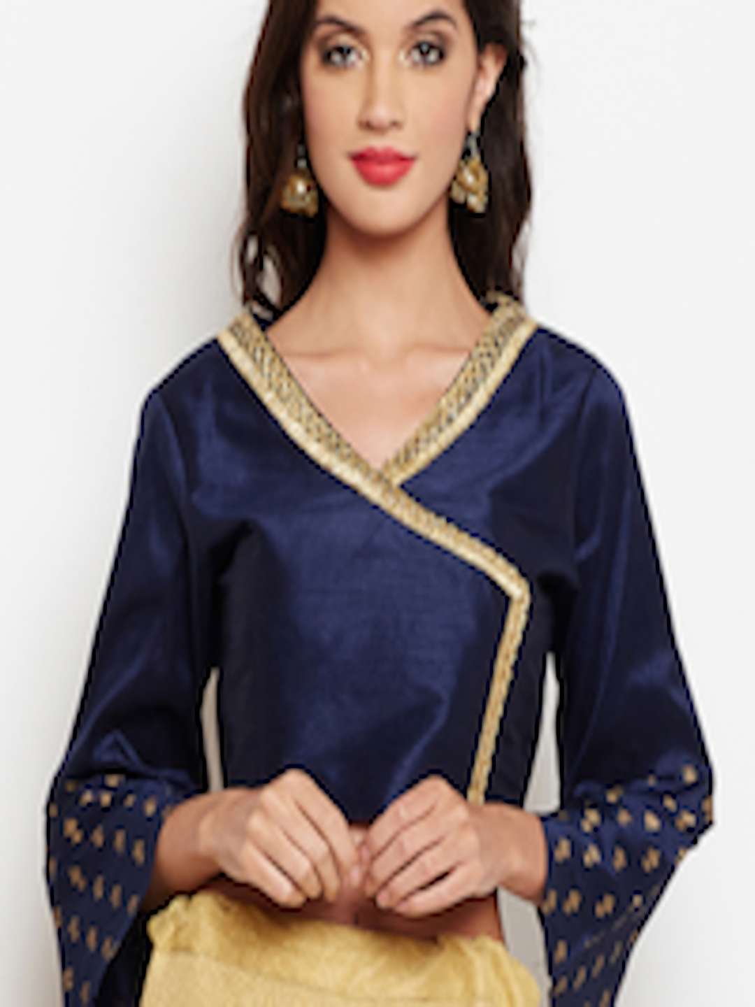96c6d402c47 Buy Studio Rasa Women Navy Blue Embellished Angrakha Crop Top - Tops for  Women 7175944 | Myntra