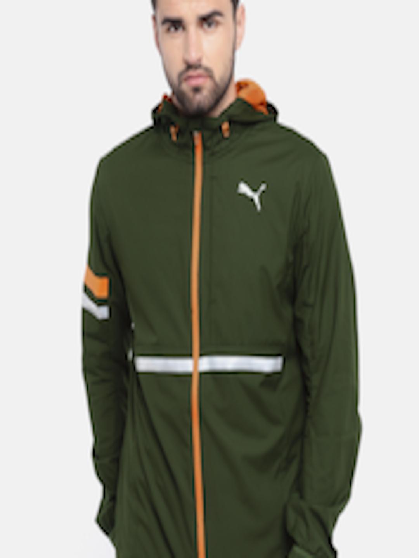 2990084f Buy Puma Men Olive Green Solid LastLap Running Hooded Windcheater Jacket -  - Apparel for Men