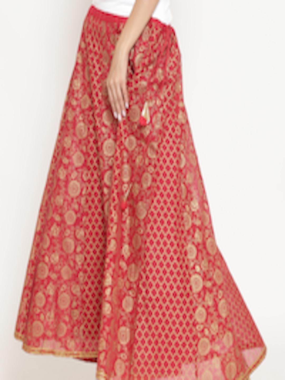 d06f0ba41 Buy Rangriti Red & Golden Printed Flared Maxi Skirt - Skirts for Women  7190453 | Myntra