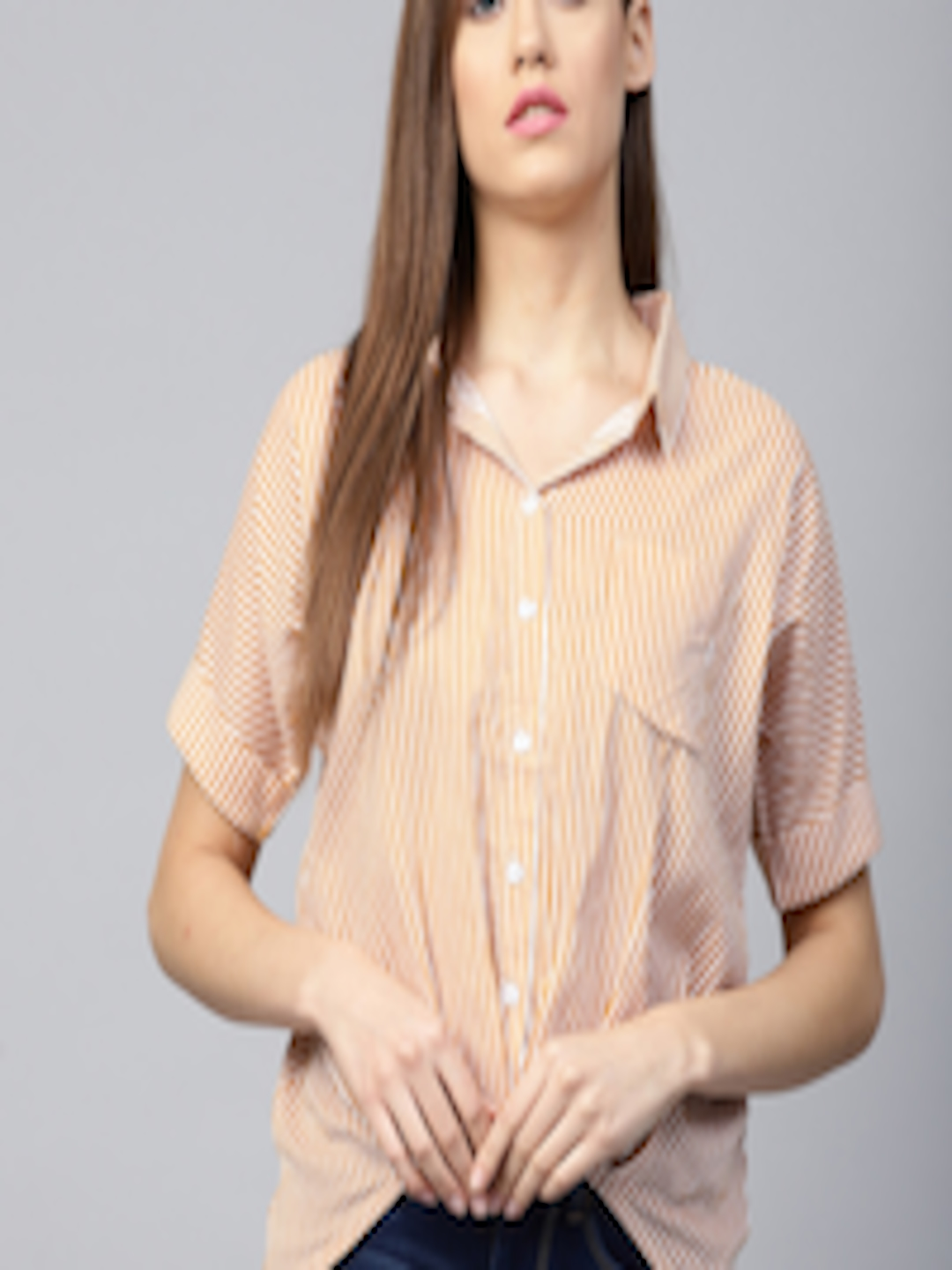 536904db36c33 Buy Athena Women Mustard Yellow   Off White Striped Shirt Style Top - Tops  for Women 7190488