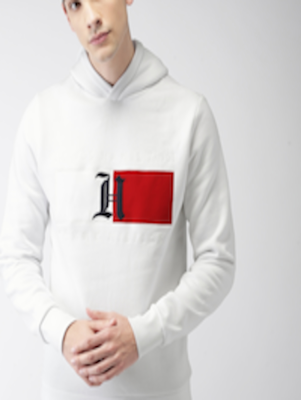 9a548d74 Buy Tommy Hilfiger LEWIS HAMILTON Men White Solid Hooded Sweatshirt -  Sweatshirts for Men 7205988 | Myntra